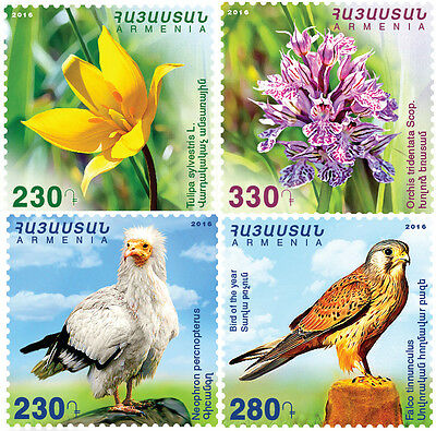 Armenia MNH** 2016 Flora and fauna of Armenia Flowers and Birds 4 stamps NEW