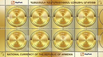 Armenia 2018 MNH** MS 25th Anniversary National Currency Gold Coin shape Unusual