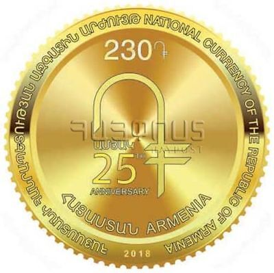 Armenia 2018 MNH** Statehood 25th Anniversary National Currency Gold Coin shape