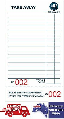100 Take-Away Docket Book - Single Page (100 page per book with numbers) 20%OFF