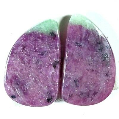 15.70Ct AA Pink Green Ruby Zoisite Earring Pair Fancy Cabochon Top Gemstone