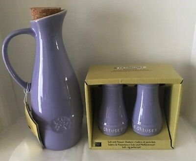 Le Creuset Olive Oil Jar/ Salt & Pepper Shaker -Lilac (NEW)