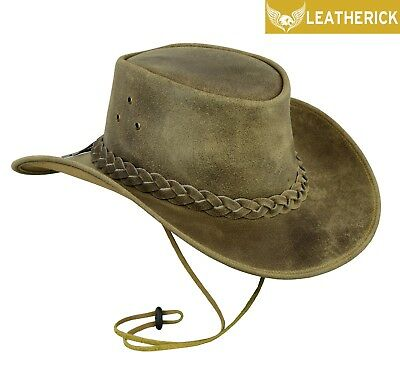 Australian Western Style Crazy Horse Cowboy Real Leather Bush Hat Chin Strap