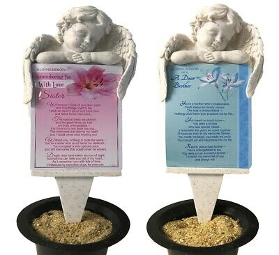 Grave Card Graveside Plaque Holder Stake Ornament Angel Memorial Brother Sister