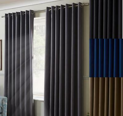 Eyelet Ring Top CHENILLE PLAIN HEAVY LINED Woven Pair of Curtains in 4 Colours