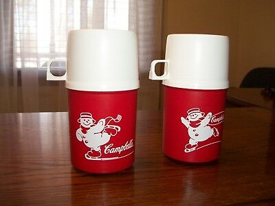 Lot Of 2 Vntg Campbell's Soup Hard Plastic Container Skating Snowman 7' Thermos