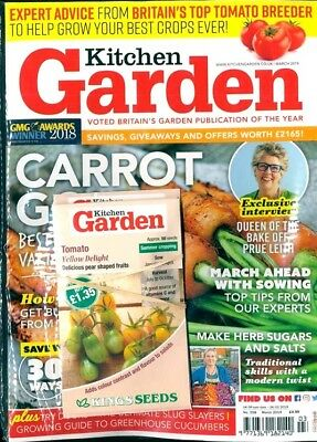KITCHEN GARDEN MAGAZINE MARCH 2019 WITH 10 x PACKS OF FREE SEEDS + CHILLI PLANT