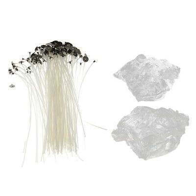 50Pcs Candle Wicks Cotton Core Pre Waxed w/ Sustainers Crystal Gel Jelly Wax