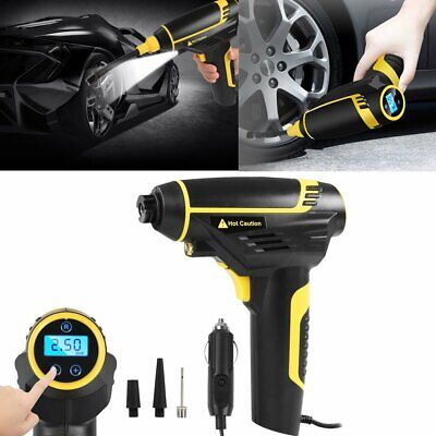 12V Portable Digital Tyre Inflator Air Compressor Electric Pump LED Car Adaptor