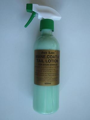 Gold label Mane, Coat and Tail lotion spray 500ml horse pony grooming showing