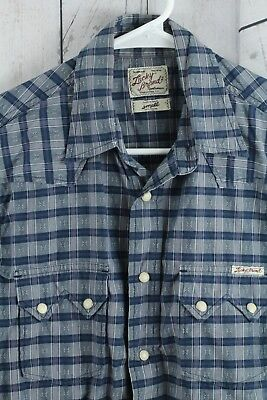 Lucky Brand VINTAGE Mens Small Shirt Western Pearl Snap Button Up Blue Retro