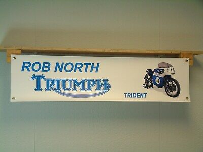 Rob North Triumph BANNER Classic Trident Motorcycle vintage race bike display