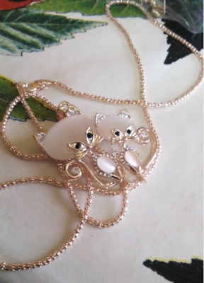 Collier Fantaisie Femme Pendentif Chats Neuf
