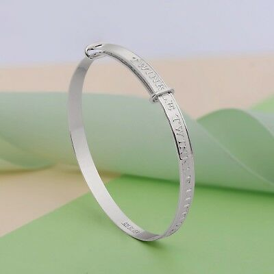 Solid 925 Nursery Rhyme Silver Baby Bangle Christening Birthday Gift Boxed