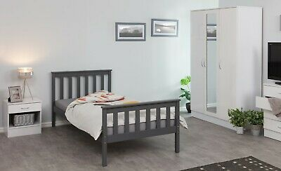 NEW Grey or White Pine Wooden Bed Frames | 3ft Single | 4ft6 Double | Bunk Beds