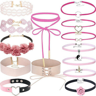 14Pc Velvet Ribbon Gothic Collar Set with Flower Tattoo Choker Necklace Stretch