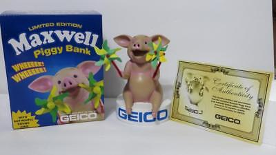 Geico Gecko Maxwell The Pig Talking Piggy Bank Rare in Box with Certificate HTF