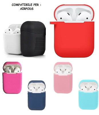 Custodia Per Airpods Per Compatibile Gomma + Gancio Airpods  Iphone Ipad Ipod