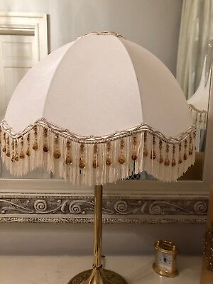 Vintage Victorian Downton Abbey Traditional Green Silk Mix Tassel Bead Lampshade
