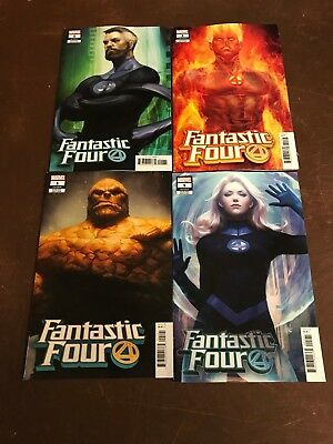 4x FANTASTIC FOUR 1; ARTGERM HUMAN TORCH THING INVISIBLE WOMAN MR VARIANT Marvel