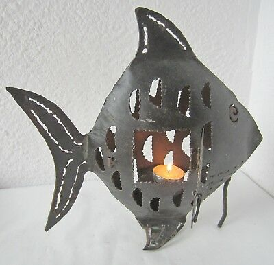 """11x11"""" antique vintage  iron  fish  ... candle holder / candlestick"""