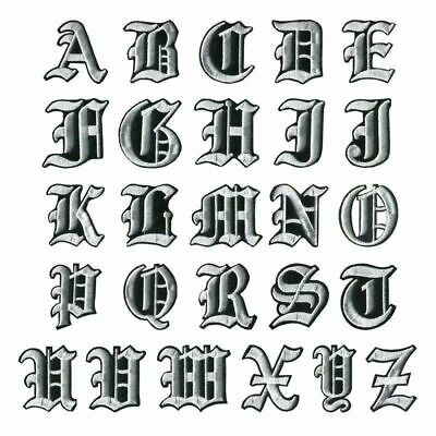 Letter Silver Patch Patches Iron on / Sew on Retro Alphabet Embroidery Clothes