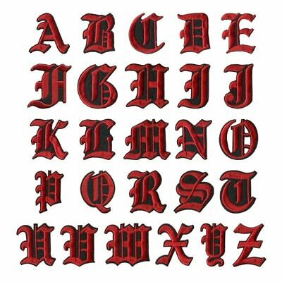 Letter Red Patch Patches Iron on / Sew on Retro Alphabet Embroidery Clothes