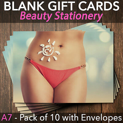 Gift Voucher Card Beauty Spray Tan Sunbed Salon Therapist x10 + Envelopes