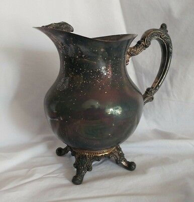 Vintage Silver Plated  Rogers by Oneida Silversmiths Water Pitcher with ice lip