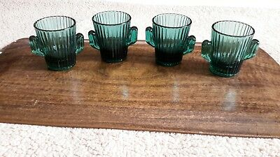 Set Of 4 Libby Double Shot Glass Green Cautus Vintage Barware Marked L