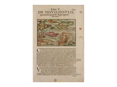 America discovered by Columbus map Sebastian Münster 1578.
