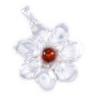 Baltic Amber Flower Pendant & 925 Sterling Silver + Silver Necklace (Extra)