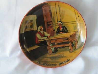 Vintage Painted Norwegian Wood Bowl Plate De Ensome Gamle (The Lonely Old Ones)