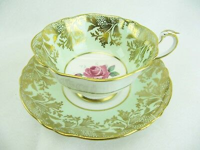 PARAGON TEACUP CUP AND SAUCER SAGE GREEN GOLD BLUE BELLS and CABBAGE ROSE