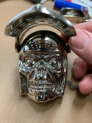 Skull With Helmet And Flip Up Face mask Belt Buckle Vintage Pewter