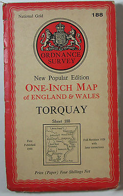 1954 old vintage OS Ordnance Survey New Popular Edition one-inch map 188 Torquay
