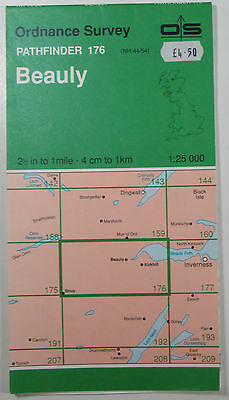 1978 old vintage OS Ordnance Survey 1:25000 Pathfinder map 176 Beauly NH 44/54