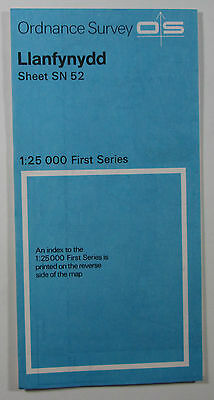 1959 old vintage OS Ordnance Survey 1:25000 First Series map SN 52 Llanfynydd