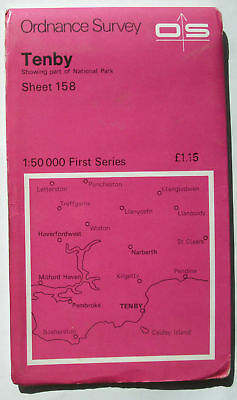 Old 1974 OS Ordnance Survey First Series 1:50000 Landranger Map Tenby Sheet 158