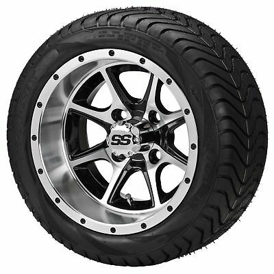 Set of 4 - 215/35-12 Tire on a 12x7 Blk/Machined Azusa Wheel w/FREE Shipping