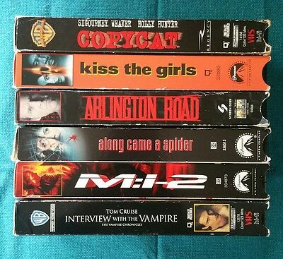 Lot of 7 VHS - Morgan Freeman Tom Cruise Holly Hunter - Action Thriller Suspense