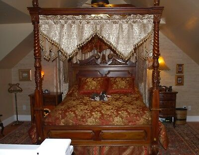 ANTIQUE Hand Made Carved Wood Ball and Claw 4 Post CANOPY Queen Bed