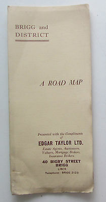 Approx 1950 old vintage Road map of Brigg and District