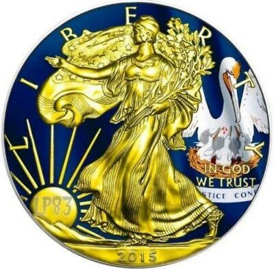 2015 1 Oz Silver AMERICAN EAGLE STATE FLAG LOUISIANA Coin WITH 24K Gold Gilded.