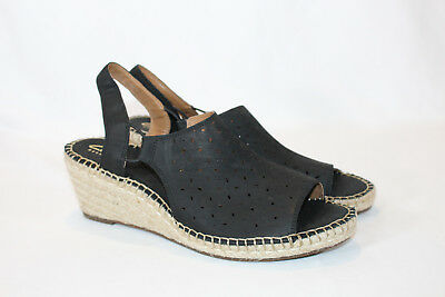 e1f4b1381eaf Clarks Artisan 10 medium black Leather Espadrille Wedge Sandals Petrina Gail