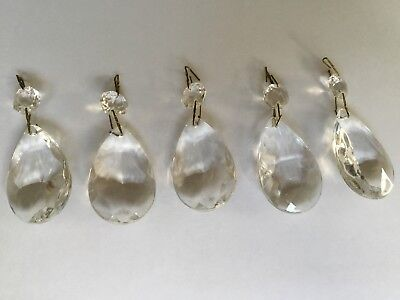 Vintage Glass Chandelier Beads Drops Parts Teardrops