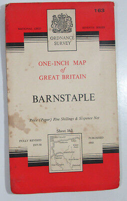1960 old vintage OS Ordnance Survey Map Seventh Series one-inch 163 Barnstaple