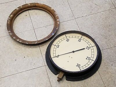 "Vintage Jas.P.Marsh 12"" Face Pressure Gauge with Brass Bezel"