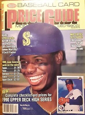 SCD BASEBALL CARD PRICE GUIDE DEC 1990 Ken Griffey Jr COVER (5 cards  included)