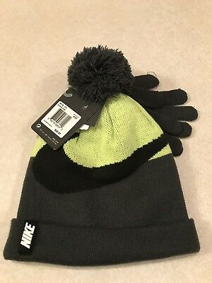 8518ef0b673 Nike Gray Neon Yellow Knit Winter Beanie Pom Pom Hat   Gloves Set Youth 8
